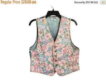 SALE Vintage Floral Print Denim Vest Medium/Large FREE SHIPPING!