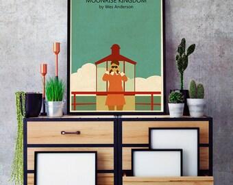 MOONRISE KINGDOM Movie vintage Poster, moonrise kingdom Minimalist print, Wes Anderson Art, Wes Anderson Print, moonrise kingdom Movie Art