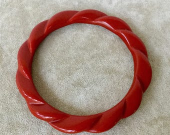Vintage Cherry Red Resin Bangle