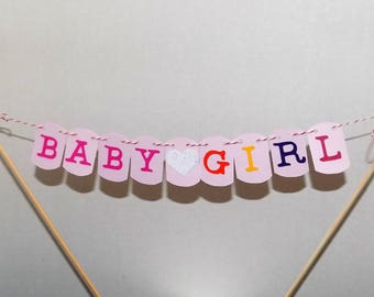 Baby Girl Cake Topper, Baby Shower Cake Topper, Welcome Baby Cake Topper, Pink Back CAke Topper, Baby Announcement, Baby Cake Topper