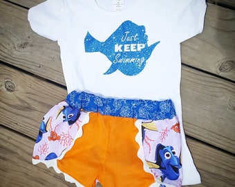 Finding nemo outfit- finding dory outfit- dory shirt- dory Coachella shorts- dory outfit- just keep swimming shirt