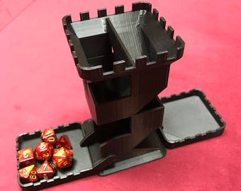 "Dice Tower - 110% size 5 5/8"" tall - supports Bigger Dice - Larger Than Similar Ones"