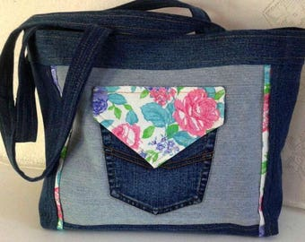 Floral tote bag in denim, lined with cotton, 2 outside pockets