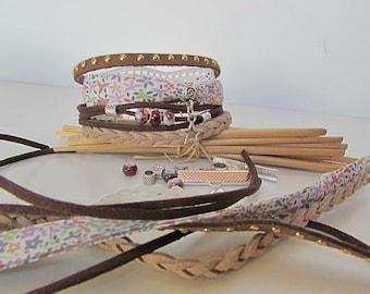 Brown Cuff Bracelet Kit liberty ceramic charm clasp - 186