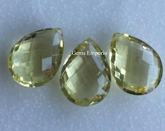 Lemon Quartz 16 x 12 MM Faceted Pear Briolette Drops /Top Side Drilled/ Excellent Quality Drops / Price per Drop.