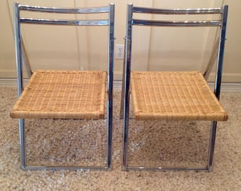A Pair of Italian Chrome and Rattan Folding Chairs