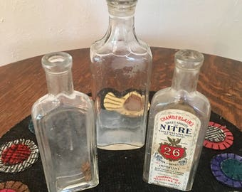 Vintage Glass Bottles set of three