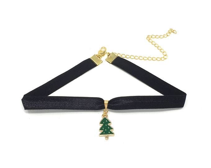 CHRISTMAS TREE: festive charm on black ribbon elastic choker