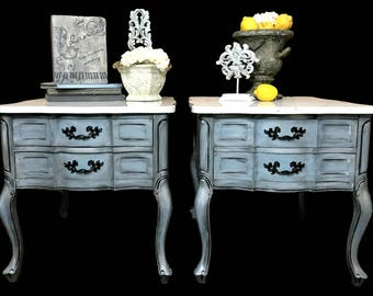 SOLD Do Not Purchase ~ Portfolio Piece, Mable Topped French Provincial End  Tables,