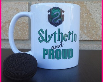 Slytherin and Proud Coffee Mug (harry potter inspired)