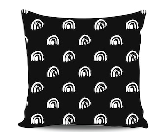 Rainbow Baby Pillow, Decorative Pillow, Nursery Pillow, Black White Throw Pillow, Scandinavian Modern Nursery Decor, Babyshower gift, Scandi