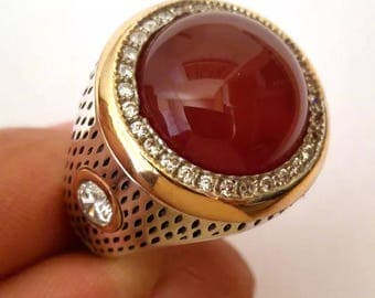 Hand made ottomane Turkish Arab Muslim style 925 Sterling silver man ring agate stone  9.5 USA size