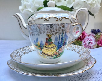 Charming Crinoline Lady Vintage Teacup, Saucer and Plate