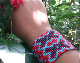 wide red mustard seed bracelet
