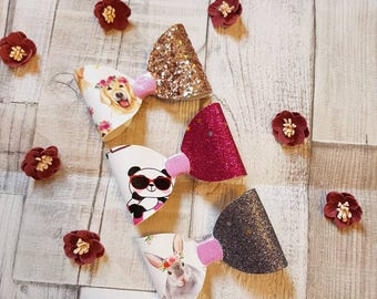 Children's Hair Bows. animal print hairbows, glitter bows, panda clip, bunny bow,  Labrador hairbows, baby bows,  gift set of 3 Hairclips
