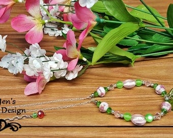 Blooming Summer Cherries Crystal beaded and chain necklace