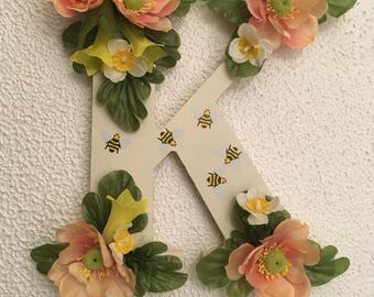 Floral letter wall hanging