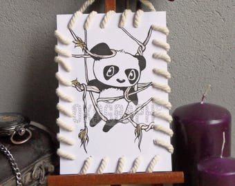 "Card drawing / illustration Matted with string effect ""bag"" panda, style graphic manga / comic / kawai"