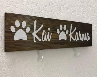 """Dog Leash Holder 12"""" x 3.5"""", Pet Name Leash Holder, Dog Name Sign, Wall Decor, Collage Sign, Dog Sign"""