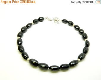 ON SALE Black Spinal Necklace, 925 Rhodium Plated Silver, Beads (Authentic)
