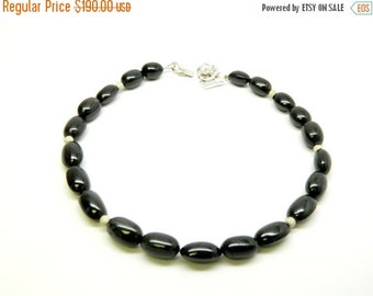 Spring Sale Black Spinal Necklace, 925 Rhodium Plated Silver, Beads (Authentic)