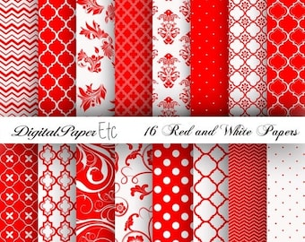 50% Off Red and White Digital Papers, Red Digital Paper Pack, Red and White Scrapbooking, Red and White, Red and White Printable Paper Pack,