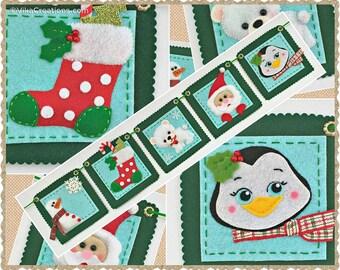 Garland, Five Christmas Ornaments, Handmade Felt Christmas Tree Ornament, Xmas Home and Holiday Decorations, Felt Ornaments