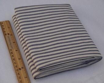1 Yard Utility Cotton Fabric Blue Ticking Mattress NEW