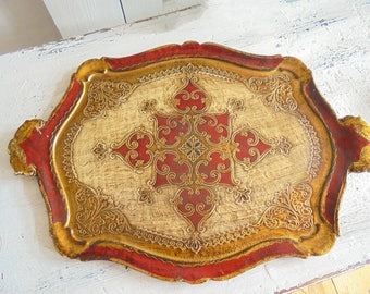 Florentine tray tray red-gold of 50 Italian decoration Dolce Vita