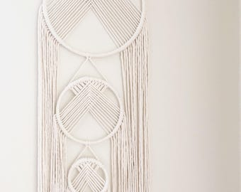 White Macrame Dreamcatcher Wall Hanging   Made To Order