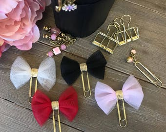 BE MINE Tulle Bow Plannerclips with Gold Center