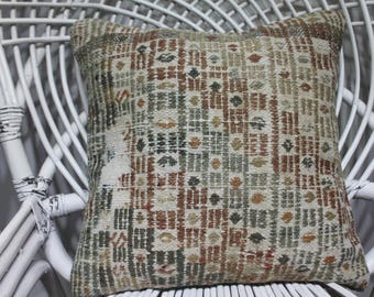 16x16 decorative kilim pillow embroidered pillow turkish pillow kelim cussion boho pillow white pillow vintage kilim pillow 3992