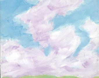 "Original Handpainted Landscape Painting on Mini 6""x6""x1.5"" Wrapped Canvas"