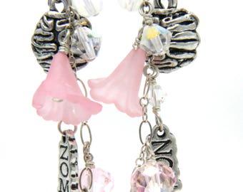 Pink Zombie Earrings, Elegant Zombie Earrings, Long Pink Earrings