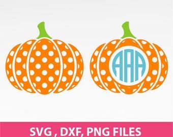 Pumpkin SVG, Polka Pumpkin Svg, Halloween SVg, Pumpkin Monogram Frame Svg, DXF, PNG Formats 0148