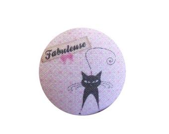 x 1 cabochon 22mm BOUT12 fabulous cat fabric