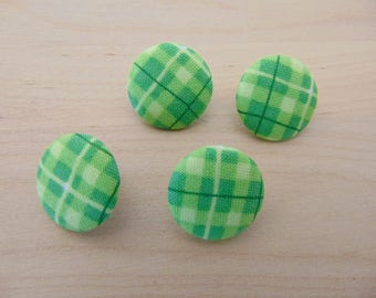 4 x buttons 19mm TOUR13 green plaid fabric