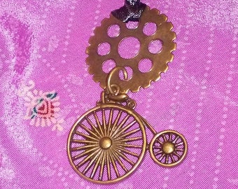 Penny Farthing and gear pendant