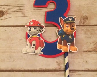 Paw Patrol Rescue Dogs Number  Birthday Party Cake Topper/Party Decor