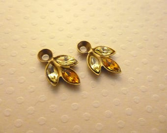 Set 2 navettes Crystal Charms old backing yellow/orange gold 17x10mm