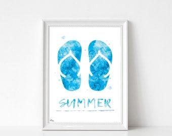 Summer print, poster, poster flip flops, summer decor, original poster, birthday gift