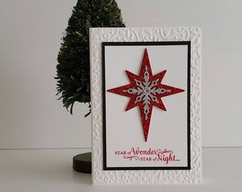 CHRISTMAS Star of Wonder Star of Light, Merry Christmas seasons greetings, hand stamped embossed die cut, red and silver glitter star, blank