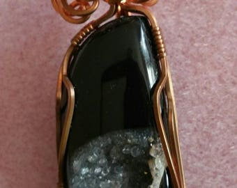 Black Onyx Sparkling Druzy Crystal Copper Pendant Necklace