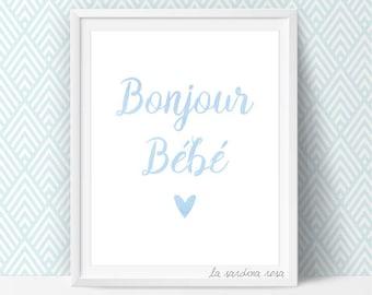 Hello baby, boy nursery prints, Blue nursery decor, Baby boy wall art, French nursery Printables art  #0046B