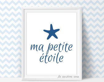 Baby Boys wall art, nautical nursery decor, Navy blue boys room prints, Starfish printable nursery, french quote  #0007B