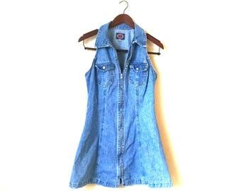 Vintage 1990s denim zip front mini dress