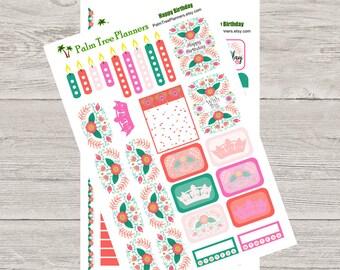 Happy Birthday Weekly Kit for Erin Condren Vertical Planner