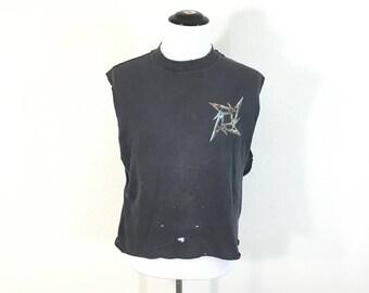90's vintage distressed metallica cut off t-shirt hard rock band tee