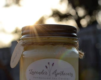 Lavender Apothecary Handpoured Soy Candle - Mason Jar - Scented Candle - Soy Candle - Gifts for Mom - 8 oz