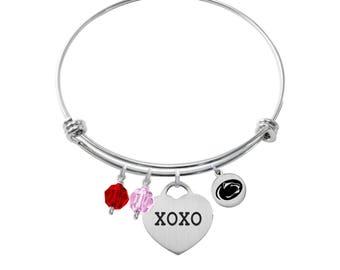 Penn State Nittany Lions Valentine's Style Heart Bangle Charm Bracelet